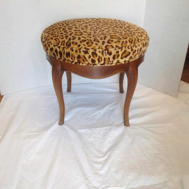 Vintage Italian Leopard Upholstered Vanity Stool For Sale In West Palm - Image 6 of 13