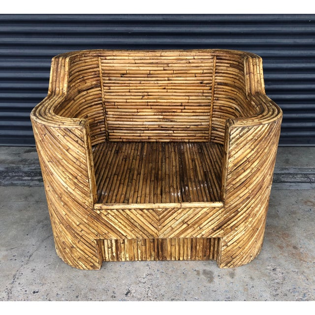 Vintage Split Reed Rattan Club Chair For Sale - Image 13 of 13