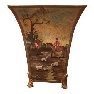 Vintage Decorative Metal Handpainted Racing Scene Vase For Sale