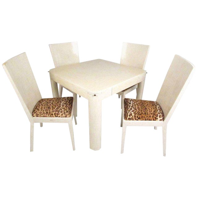Enrique Garcel Tessellated Bone Card Table With Chairs For Sale