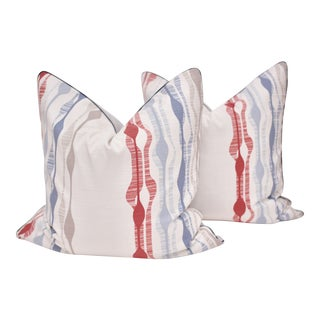 Mid-Century Modern Romo Square Pillows - a Pair For Sale