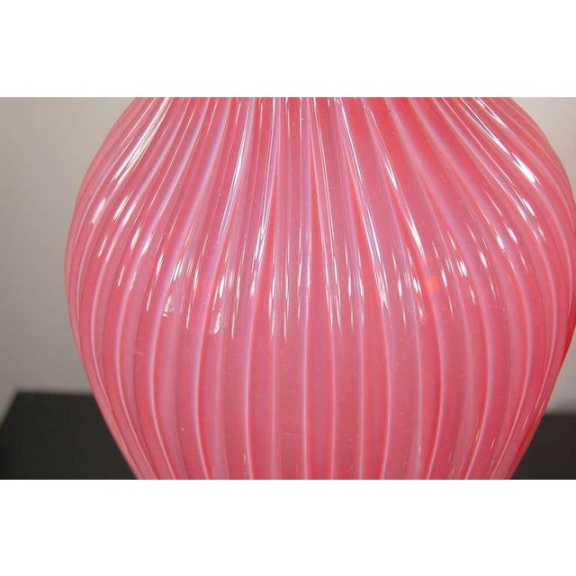 Pink Marbro Murano Opaline Glass Table Lamps Pink For Sale - Image 8 of 10