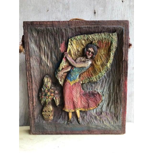 """Wood 1936 Vintage """"Dancing Dee"""" Folk Art Hand Carved Plaque For Sale - Image 7 of 7"""