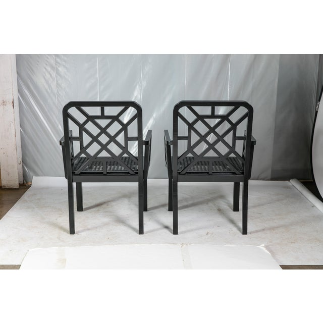 1980s Vintage Madcap Cottage Black Chinoiserie Fretwork Chairs-a Pair For Sale - Image 4 of 13