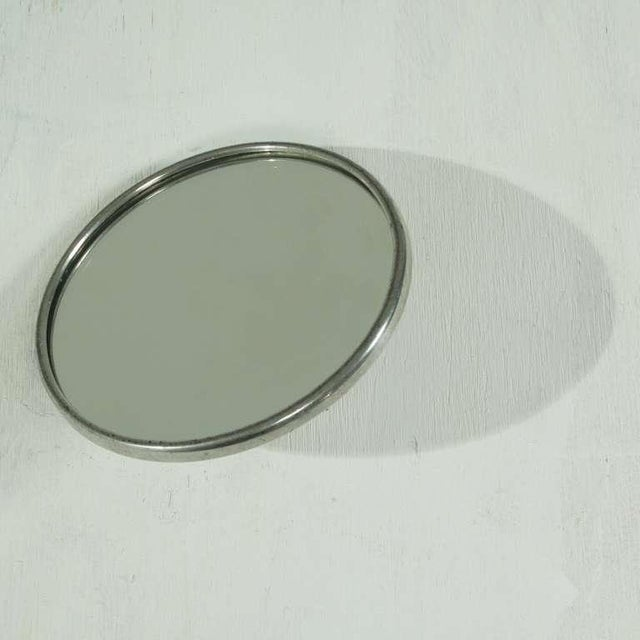Glass Lovely Swedish tin hand hand mirror, 1940s For Sale - Image 7 of 7