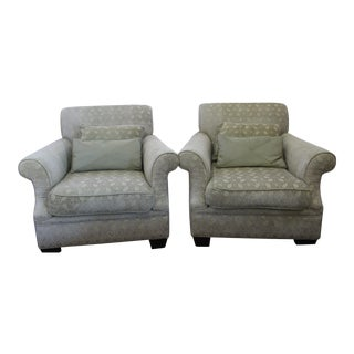 Baker Style Custom Upholstered Club Chairs - a Pair For Sale