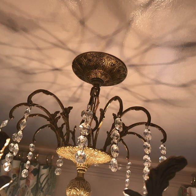 Art Deco Crystal and Brass Light Fixture - Image 5 of 7