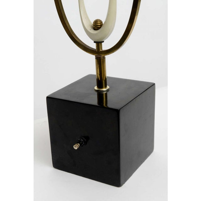 White Italian Modern Brass Enamel and Glass Lamp, Arteluce For Sale - Image 8 of 9