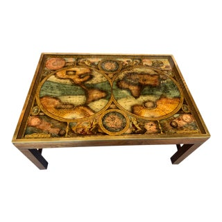 Vintage Mid Century French Maison Jansen Eglomise Glass World Map Coffee Table For Sale