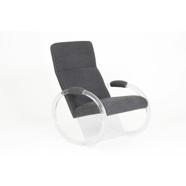 Mid-Century Modern 1970's Charles Hollis Jones Aka Mr. Lucite, Steel Gray Alpaca Upholstered Rocker For Sale - Image 3 of 3