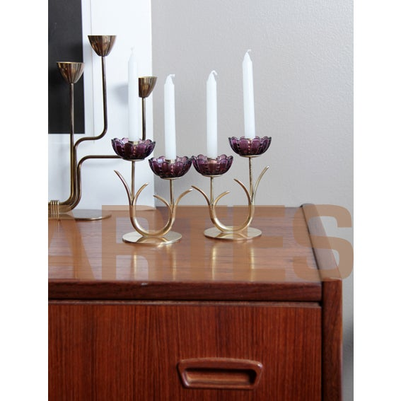 1940s 1940s Swedish Modern Brass and Glass Flower Candlesticks- a Pair For Sale - Image 5 of 6
