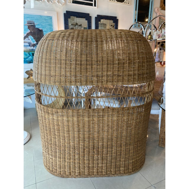 1970s Vintage Wicker and Rattan Newly Upholstered Dome Hooded Loveseat Settee Chair For Sale - Image 5 of 13