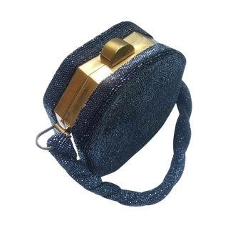 Art Deco Black Carnival Glass Beaded Handbag. 1940's For Sale