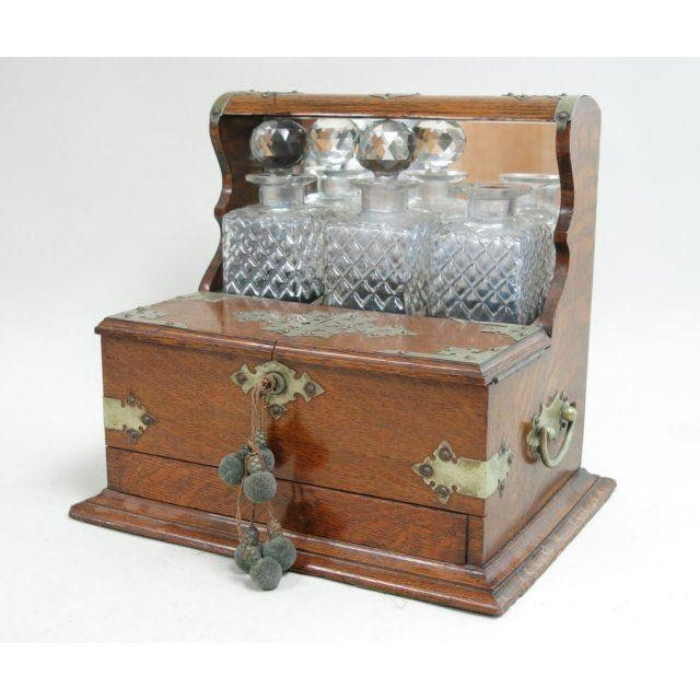 Victorian Oak Tantalus Set with 3 Crystal Bottles For Sale - Image 4 of 5