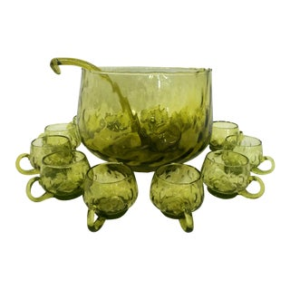 Green Italian Punch Bowl Set - Set of 14