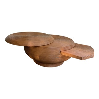 1960s Pencil Reed Bamboo Round Swivel Top Coffee Table For Sale