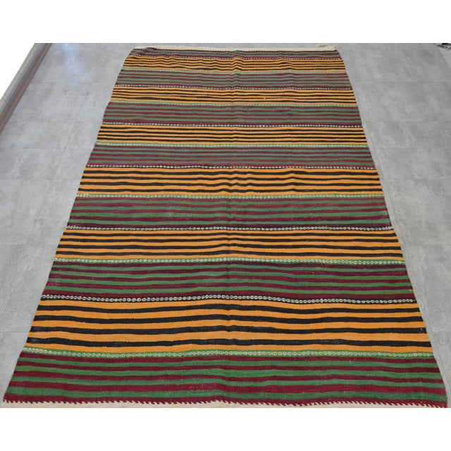 Hand-Woven Kilim Rug Striped Area Rug - 5′11″ X 9′8″ - Image 5 of 8