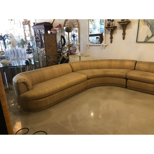 1970s Vintage 1970's Mid Century Modern Curved Sectional Sofa - 5 Pieces For Sale - Image 5 of 12