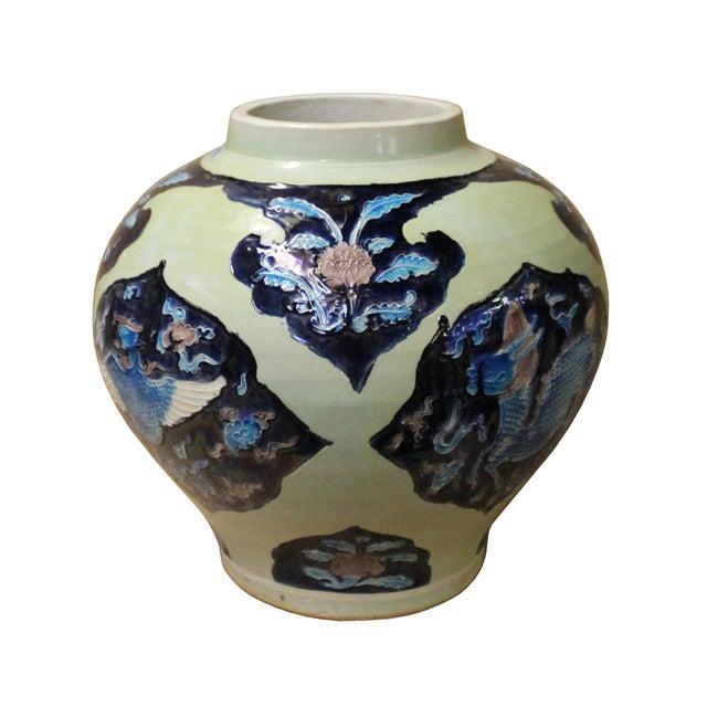2010s Handmade Ceramic Blue Light Green Celadon Dimensional Pattern Vase Jar For Sale - Image 5 of 10