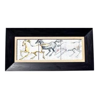 Framed Watercolor Horses Ceramic Tiles For Sale