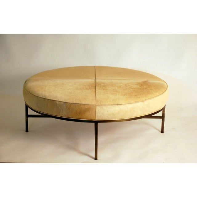 """Modern Contemporary """"Tambour"""" Natural Hide and Brass Ottoman For Sale - Image 3 of 10"""