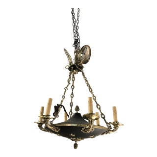 20th Century Empire Style Tole Chandelier For Sale