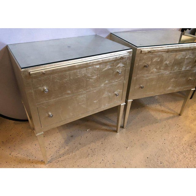 Hollywood Regency Pair of Silver Gilt Commodes Chest of Drawers or Nightstands Mid-Century Modern For Sale - Image 3 of 12