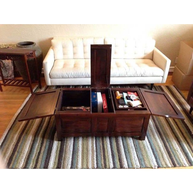 Contemporary Carved Walnut Coffee Table Chest - Image 5 of 7