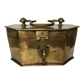 20th Century Hollywood Regency Solid Brass Octagon Shaped Box For Sale