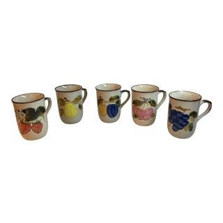 Mid Century Japanese Ceramic Fruit Motif Coffee Mugs - Set of 5 For Sale