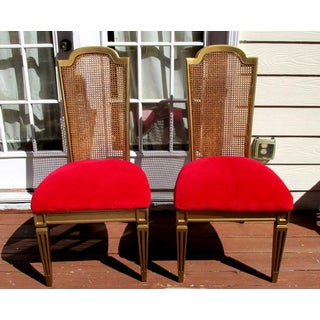 Vintage Hollywood Regency French Cane Side Chairs Provincial Rococo - a Pair Preview