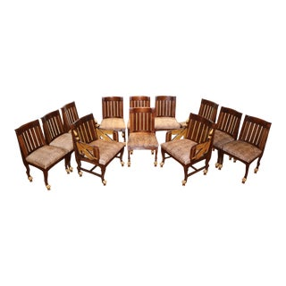 Egyptian-Style Beech Wood And Parcel-Gilt Chairs - Set Of 12