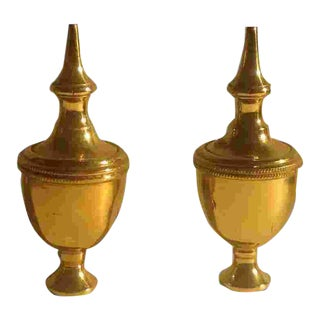 Pr. Of English Brass Finials For Sale