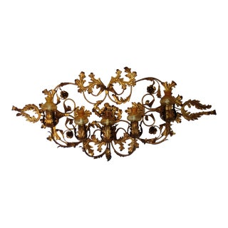 Large Florentine Wall Chandelier Sconce Made in Italy For Sale