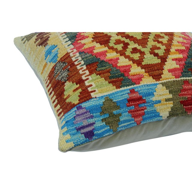 "Asian Chery Gold/Lt. Blue Hand-Woven Kilim Throw Pillow(18""x18"") For Sale - Image 3 of 6"