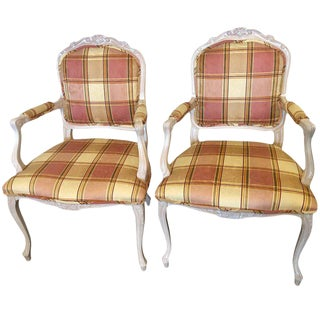 Burberry Inspired Custom Upholstered Louis XV Style Arm Chairs - a Pair For Sale