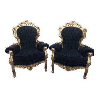 Italian Rococo Style Chairs - A Pair For Sale