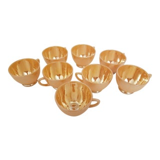 Vintage Mid-Century Fire-King Anchor Hocking Tom and Jerry Peach Lustre Cups. Set of 8. For Sale