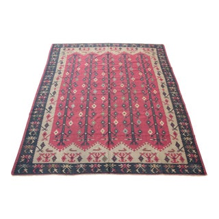 Vintage Turkish Decorative Kilim - 9' 8'' x 8' 1'' For Sale