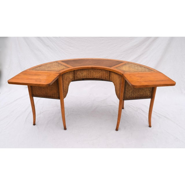 "A demilune one-drawer, "" Hunt,"" cocktail table or desk featuring solid pine construction, splayed legs, inset leather top,..."