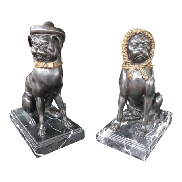 20th C Bronze Bulldogs Wearing Hats on Marble Bases - a Pair For Sale