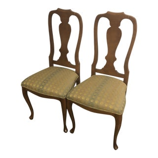 1990s Italian Queen Anne Style Side Chairs- A Pair For Sale