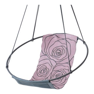 Rose Pink Grey Machine Stitched Genuine Leather Sling Chair For Sale