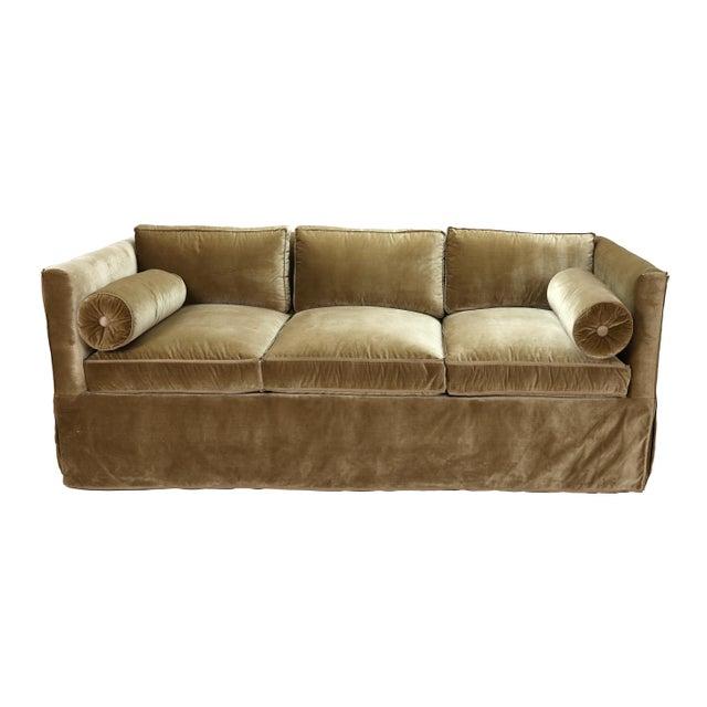 2010s Nancy Corzine Sage Velvet Silk Velvet Tuxedo Sofa For Sale - Image 5 of 5