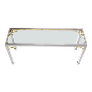 Mid-Century Modern Mastercraft Chrome Brass & Glass Console Table For Sale