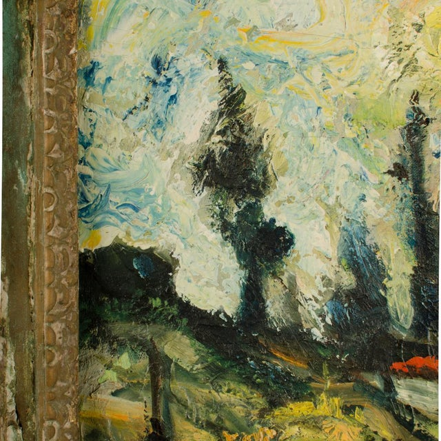 """Canvas Mid 20th Century """"Sunday Stroll Home"""" Landscape Oil Painting, Framed For Sale - Image 7 of 13"""