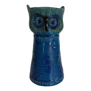 1950s Rosenthal Netter Bitossi Rimini Blue Owl Candle Holder for Raymor For Sale