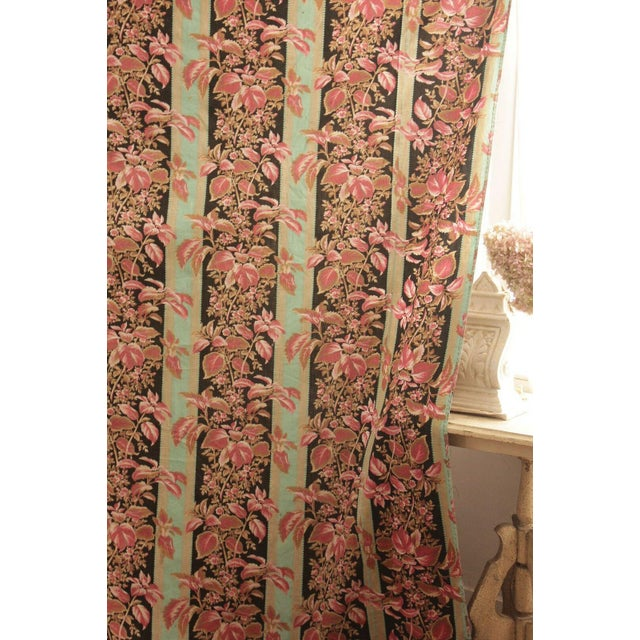 Fabric Antique French Black & Teal Stripes W/ Red Pink Florals 1880 Belle Epoque For Sale - Image 6 of 11