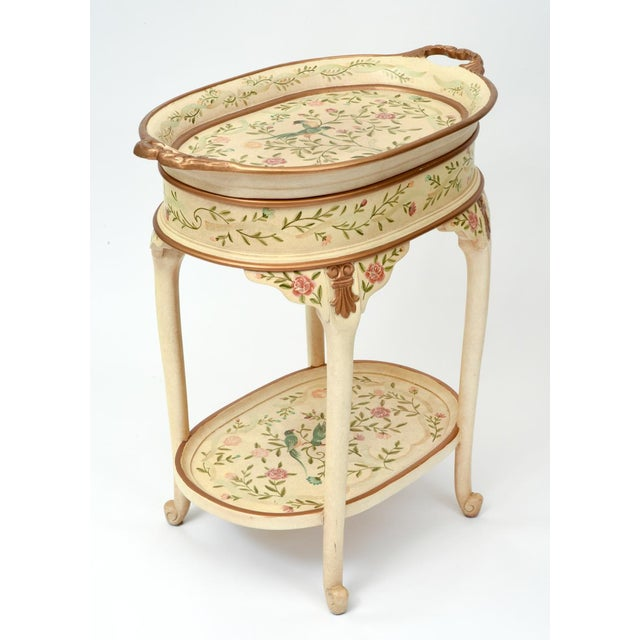 Art Nouveau Vintage Wood Hand Painted Serving / Side Tray Table For Sale - Image 3 of 13