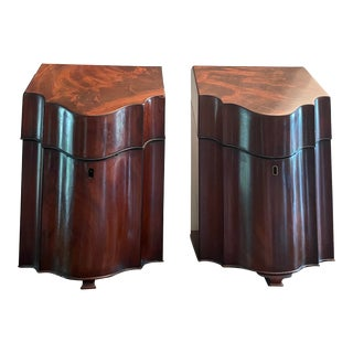 18th Century Sheraton Era Footed Mahogany Fitted Cutlery Storage Cases - a Pair For Sale